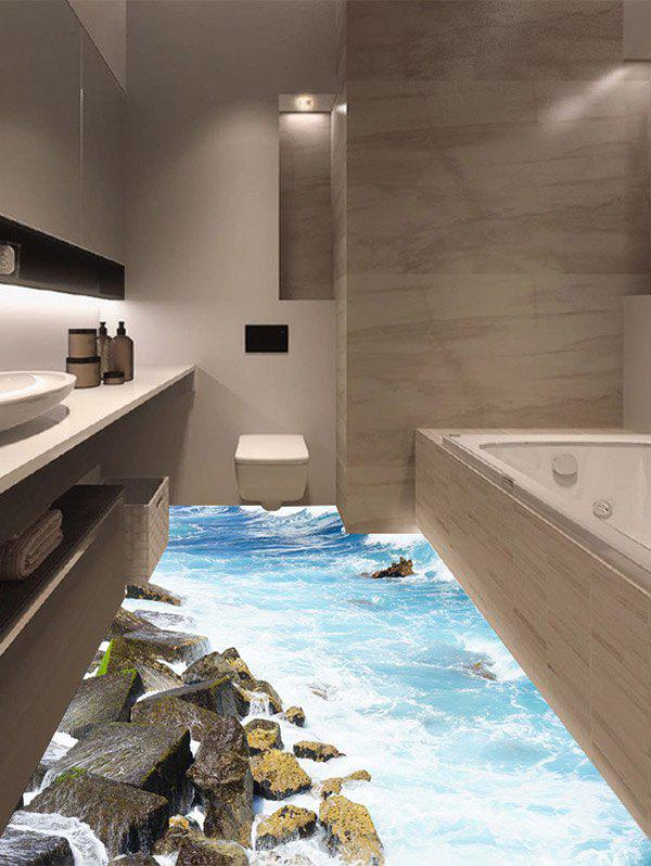 Multicolor Cm Removable Vinyl D Rock Sea Floor Sticker - 3d vinyl flooring for sale
