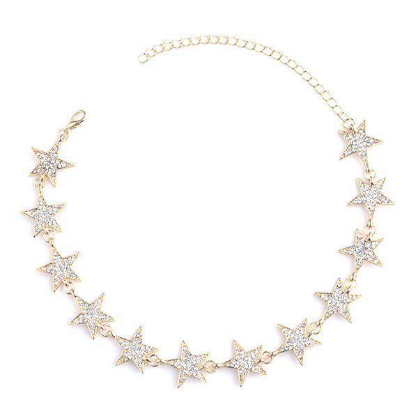 Rhinestoned Star Choker NecklaceJEWELRY<br><br>Color: GOLDEN; Item Type: Chokers Necklace; Gender: For Women; Metal Type: Alloy; Style: Trendy; Shape/Pattern: Star; Length: 28CM+Extension Chain:10CM; Weight: 0.0400kg; Package Contents: 1 x Necklace;