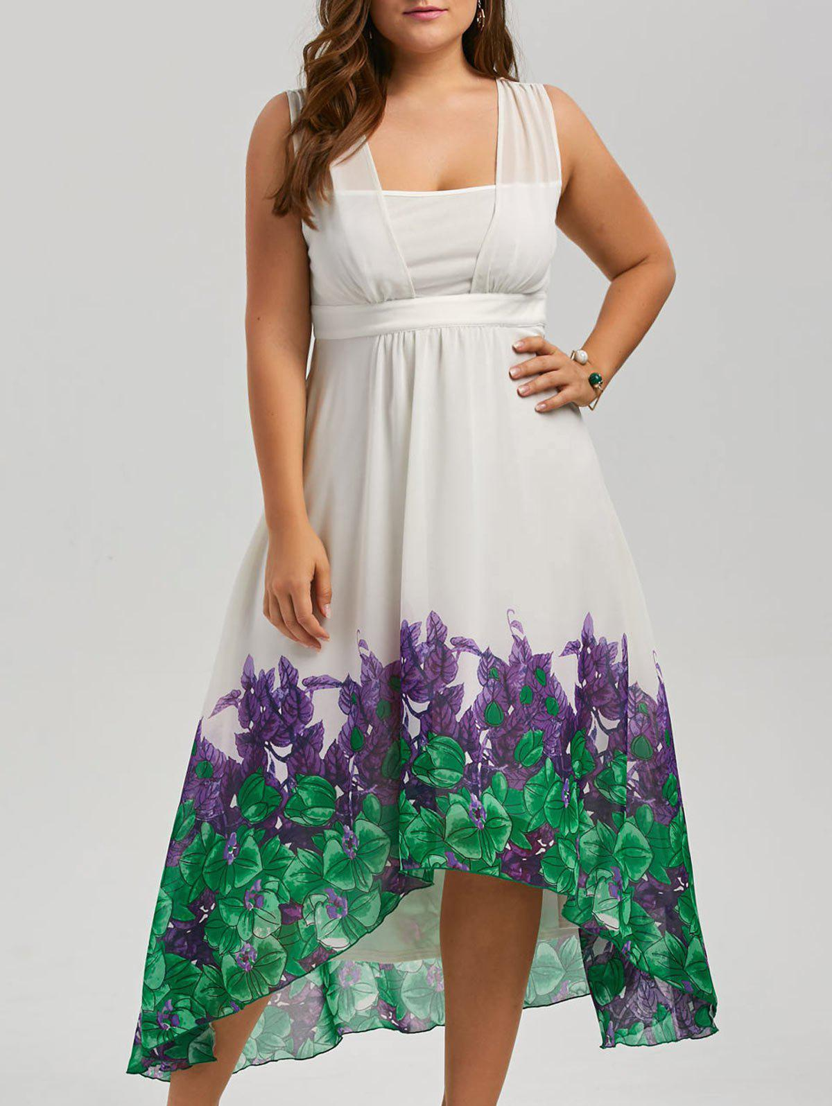 Plus Size Beach Printed Chiffon Long Flowy DressWOMEN<br><br>Size: 3XL; Color: WHITE; Style: Casual; Material: Polyester; Silhouette: Beach; Dresses Length: Mid-Calf; Neckline: Square Collar; Sleeve Length: Sleeveless; Waist: Empire; Pattern Type: Plant,Print; With Belt: No; Season: Spring,Summer; Weight: 0.3500kg; Package Contents: 1 x Dress;