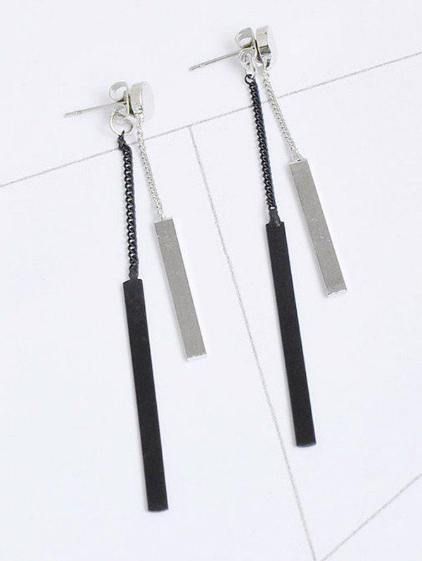 Alloy Bar Front Back Chain EarringsJEWELRY<br><br>Color: SILVER; Earring Type: Drop Earrings; Gender: For Women; Style: Trendy; Shape/Pattern: Geometric; Length: 7CM; Weight: 0.0300kg; Package Contents: 1 x Earring (Pair);