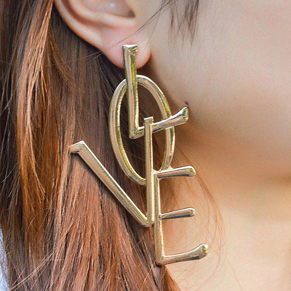 Statement Alloy Letter Love EarringsJEWELRY<br><br>Color: GOLDEN; Earring Type: Drop Earrings; Gender: For Women; Metal Type: Alloy; Style: Trendy; Shape/Pattern: Letter; Length: 9CM; Weight: 0.0550kg; Package Contents: 1 x Earrings (Pair);