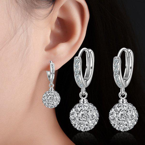 Silver Plated Rhinestoned Ball Drop EarringsJEWELRY<br><br>Color: SILVER; Earring Type: Drop Earrings; Gender: For Women; Metal Type: Alloy; Style: Trendy; Shape/Pattern: Ball; Length: 2.6CM; Weight: 0.0300kg; Package Contents: 1 x Earrings (Pair);