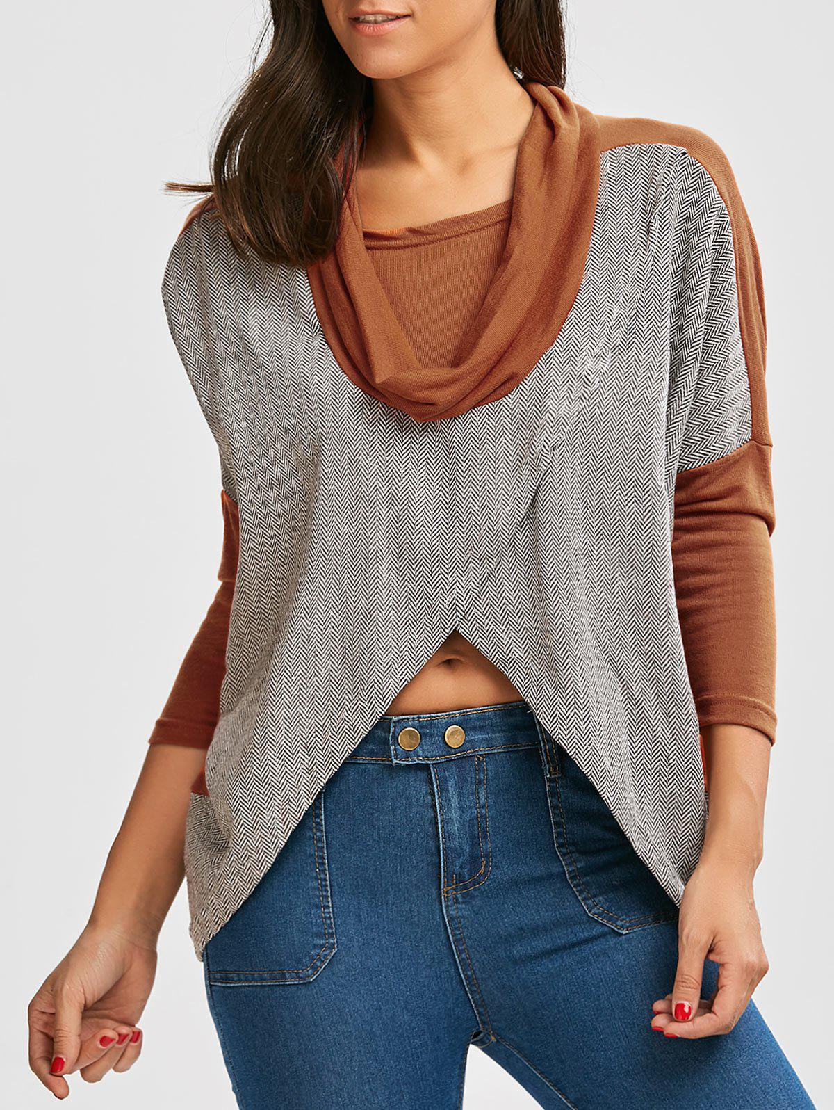 Sale Paneled Batwing Sleeve Cowl Neck Top