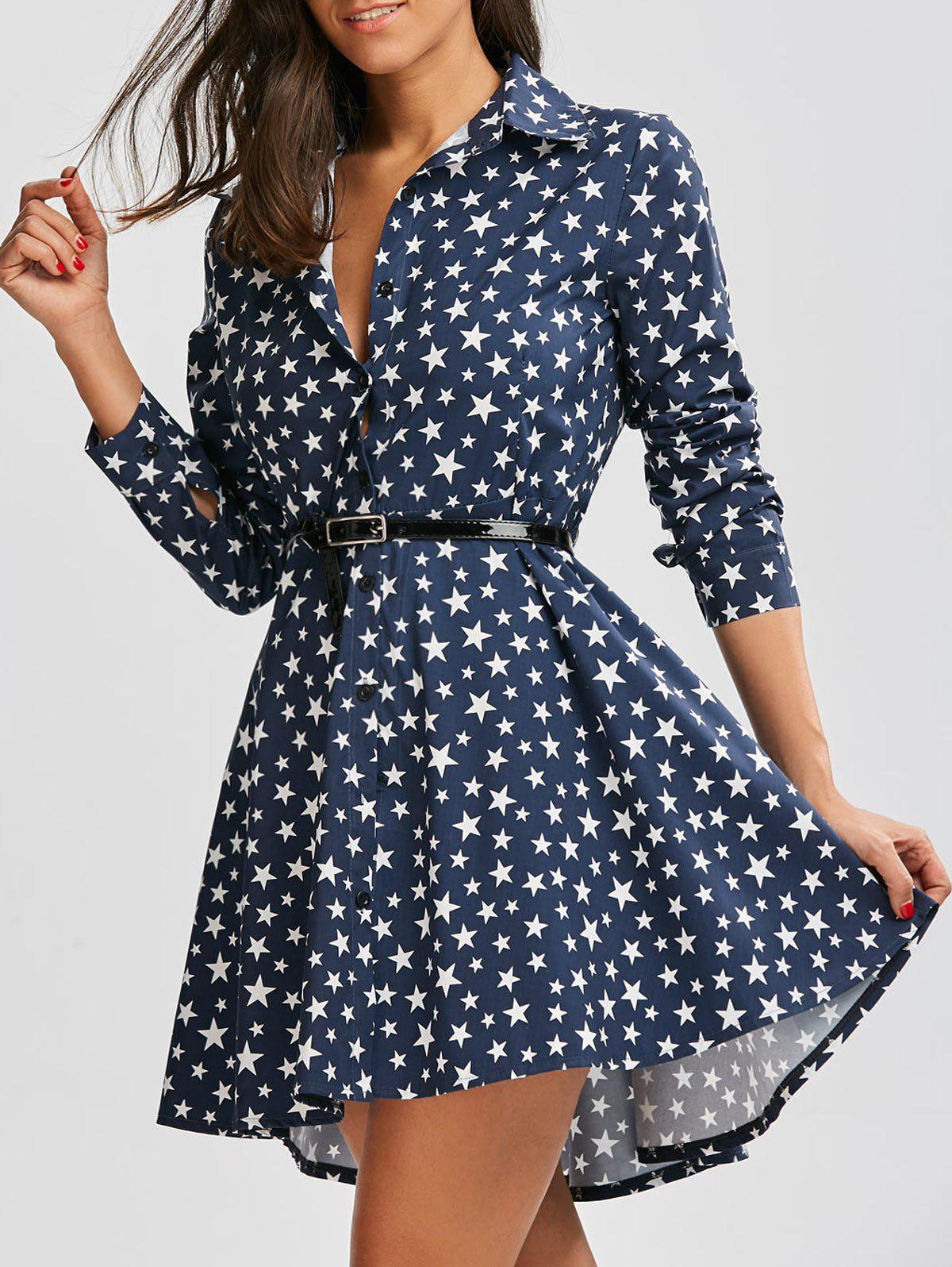 Chic Polka Dot Star Print Dovetail Mini Dress