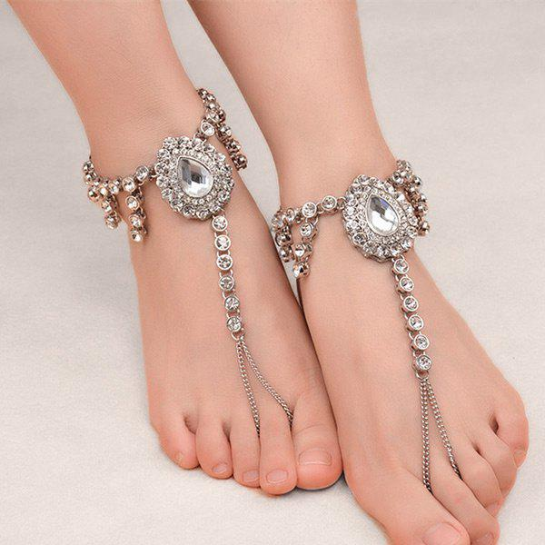 Buy 1PC Faux Gem Rhinestoned Teardrop Slave Anklet