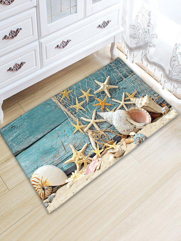 Nautical Starfish Print Flannel Skidproof Bathroom RugHOME<br><br>Size: W20 INCH * L31.5 INCH; Color: BLUE; Products Type: Bath rugs; Materials: Flannel; Pattern: Star; Style: Beach Style; Shape: Rectangle; Package Contents: 1 x Rug;