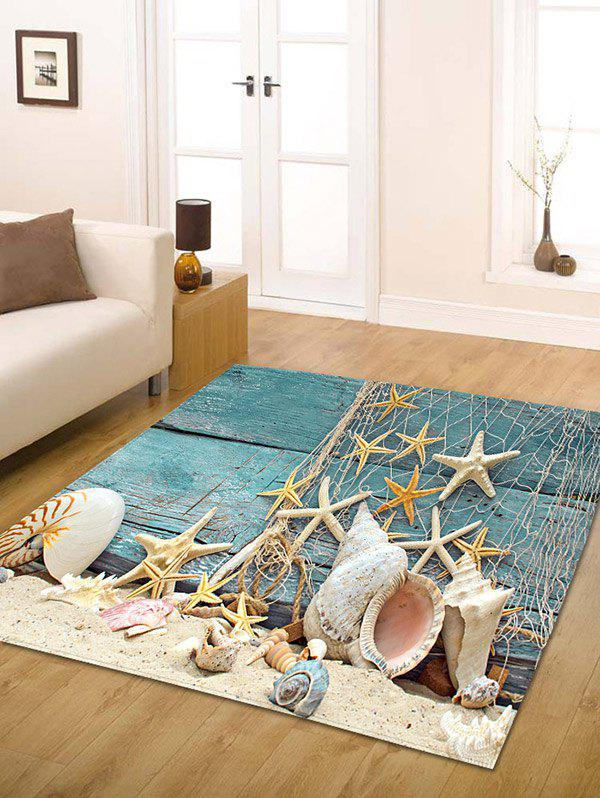 Nautical Starfish Print Flannel Skidproof Bathroom RugHOME<br><br>Size: W31.5 INCH * L47 INCH; Color: BLUE; Products Type: Bath rugs; Materials: Flannel; Pattern: Star; Style: Beach Style; Shape: Rectangle; Package Contents: 1 x Rug;