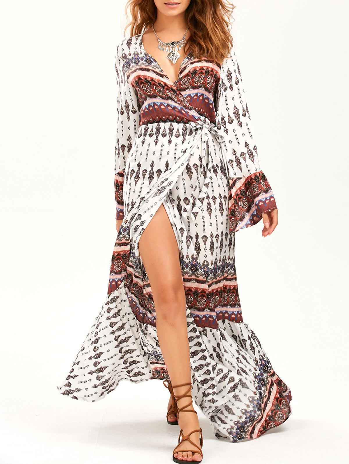 Bohemian Long Sleeve Wrap Maxi Flowy DressWOMEN<br><br>Size: ONE SIZE; Color: WHITE; Style: Bohemian; Material: Polyester; Silhouette: Beach; Dress Type: Wrap Dress; Dresses Length: Floor-Length; Neckline: V-Neck; Sleeve Type: Flare Sleeve; Sleeve Length: Long Sleeves; Pattern Type: Print; Placement Print: No; With Belt: No; Season: Fall,Spring,Summer; Weight: 0.3500kg; Package Contents: 1 x Dress;