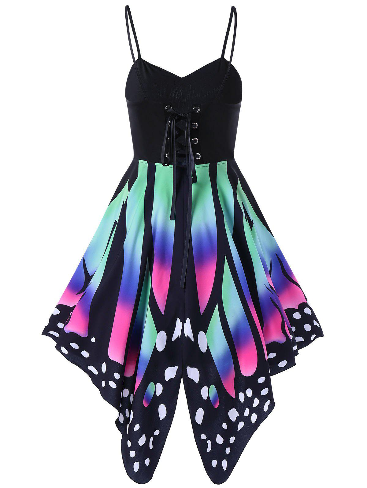 High Waist Butterfly Print Lace Up DressWOMEN<br><br>Size: 2XL; Color: COLORMIX; Style: Gothic; Material: Polyester,Spandex; Silhouette: A-Line; Dresses Length: Knee-Length; Neckline: Spaghetti Strap; Sleeve Length: Sleeveless; Pattern Type: Butterfly; With Belt: No; Season: Summer; Weight: 0.3500kg; Package Contents: 1 x Dress;