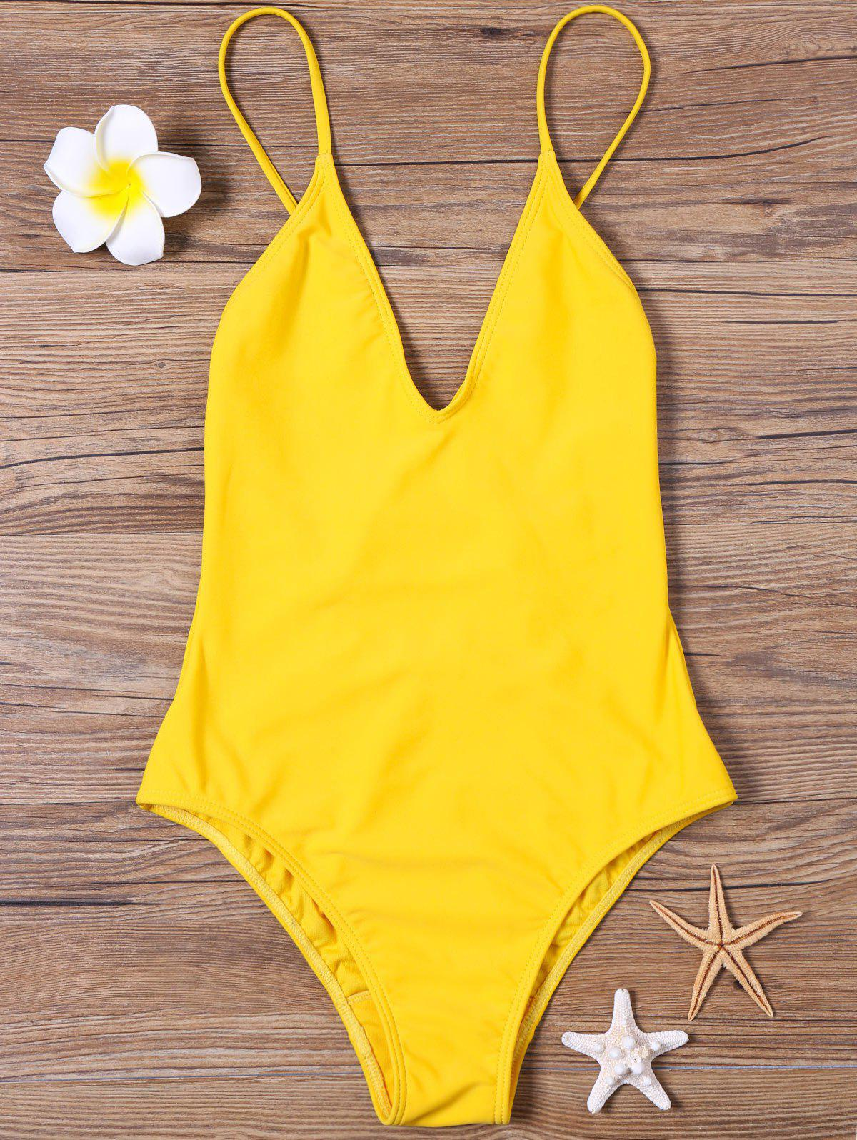 High Cut V Neck One Piece SwimsuitWOMEN<br><br>Size: 2XL; Color: YELLOW; Style: Sexy; Swimwear Type: One Piece; Gender: For Women; Material: Polyester,Spandex; Bra Style: Bralette; Support Type: Wire Free; Neckline: Spaghetti Straps; Pattern Type: Solid; Waist: High Waisted; Elasticity: Elastic; Weight: 0.2500kg; Package Contents: 1 x Swimsuit;