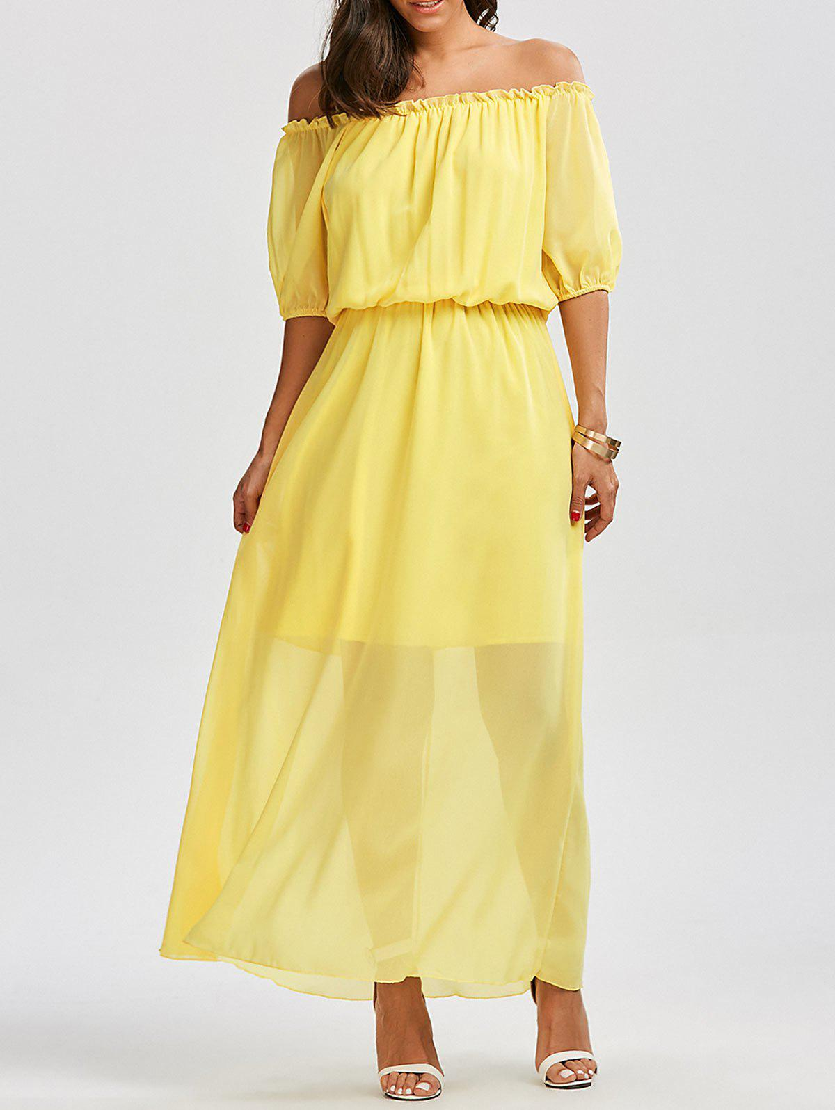 Shop High Waist Chiffon Off The Shoulder Maxi Dress