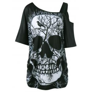 Plus Size Skull Skew Collar Long T-shirt - Black - 5xl