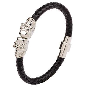 Faux Leather Double Skulls Magnetic Clasp Bracelet - Silver