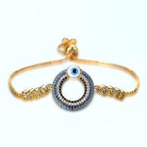 Bead Evil Eye Rhinestone Bracelet - Golden