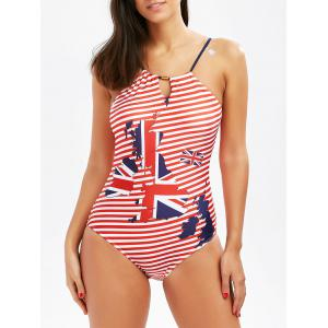 Halter Patriotic Flag Print One Piece Swimsuit