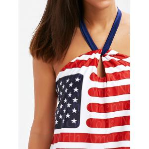 American Flag Halter Patriotic Tankini Set - STRIPE 2XL