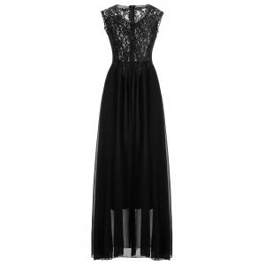 Maxi Lace Top Sleeveless Prom Formal Dress - Black - S