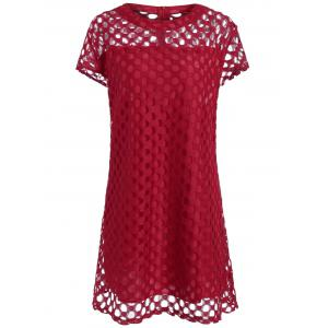Cutout Openwork Plus Size Short A Line Dress