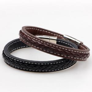 Artificial Leather Braid Titanium Steel Bracelet - BROWN