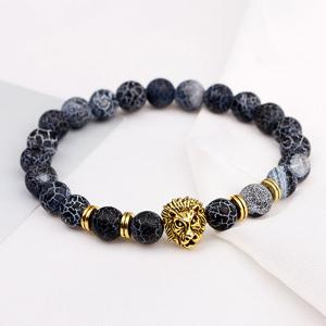 Lion Head Bracelet en perles en pierre naturelle -