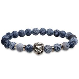 Lion Head Natural Stone Beaded Bracelet