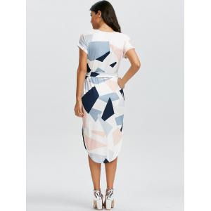 Short Sleeve Geometric Print Midi Dress -