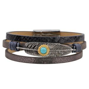 Faux Leather Turquoise Multilayered Leaf Bracelet - Greyish Brown