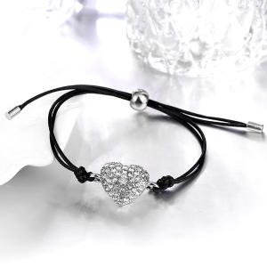 Faux Leather Rope Rhinestone Heart Bracelet