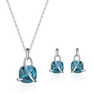 Artificial Crystal Lock Pendant Jewelry Set