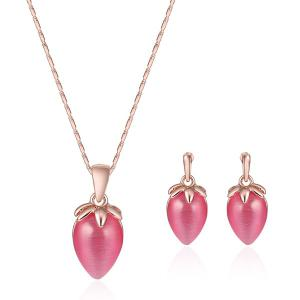 Faux Gem Strawberry Necklace with Earring Set - Rose Gold