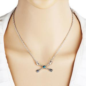 Rhinestone Love Cupid Arrow Pendant Necklace