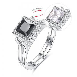 Artificial Gem Geometric Double Sided Ring