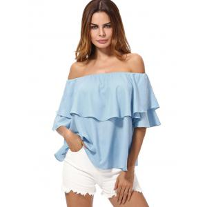 Overlay Chiffon Off The Shoulder Top - AZURE XL