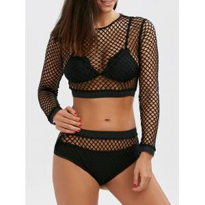 Fishnet Crop Top and Briefs - Black - L