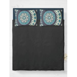Bohemia Style Floral Print Double Pillow Case - Turquoise Blue - W20 Inch * L30 Inch