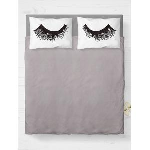 Eyelashes Print Bed Double Pillow Case - White - W20 Inch * L30 Inch