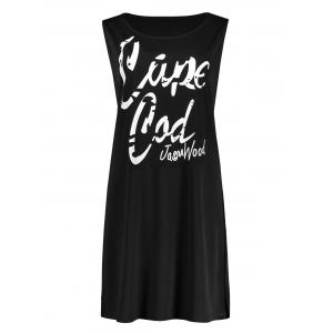 Plus Size Funny Letter Printed Swing Tank Dress - Black - 5xl