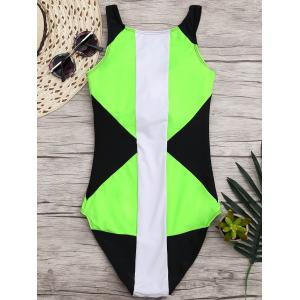 High Neck Color Block One Piece Swimwear -