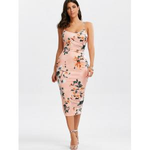 Lace-Up Bodycon Floral Midi Slip Dress - PINK S