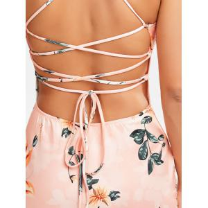 Lace-Up Bodycon Floral Midi Slip Dress - PINK M