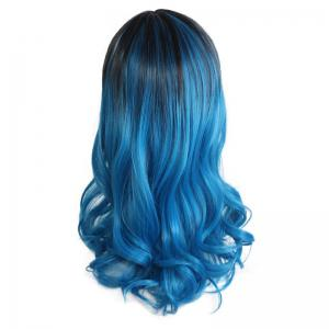 Center Parting Long Wavy Ombre Colormix Lolita Synthetic Wig - BLACK/BLUE