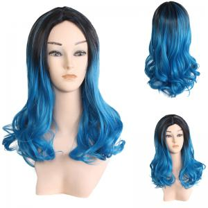 Center Parting Long Wavy Ombre Colormix Lolita Synthetic Wig
