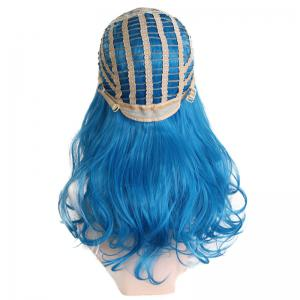 Center Parting Long Wavy Ombre Colormix Lolita Synthetic Wig - BLACK AND BLUE