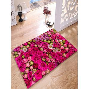 Wedding Rose Print Flannel Water Absorption Bathroom Rug - Rose Red - W24 Inch * L31.5 Inch