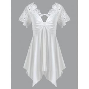 Empire Waist Lace Trim Handkerchief Peplum T-Shirt