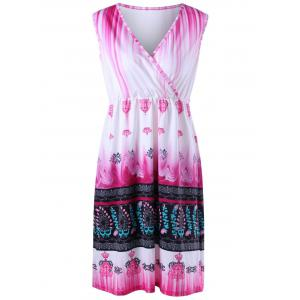 Plus Size Tribal Printed V  Neck Ombre Dress - Light Pink - Xl