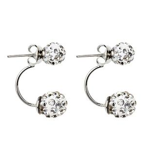 Rhinestone Front Back Ball Ear Jackets - Silver
