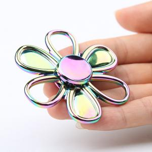 Flower Shape Colorful Fidget Metal Spinner Fiddle Toy - Colormix - 8