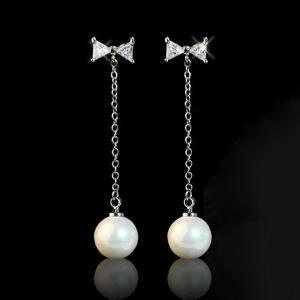 Artificial Pearl Rhinestone Bowknot Drop Earrings