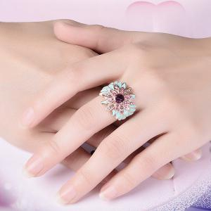 Flower Design Artificial Diamond Embellished Ring - Rose Gold - 8
